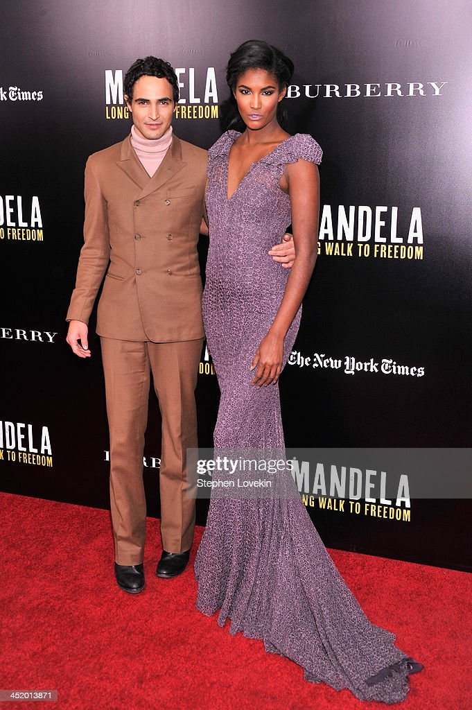 Designer Zac Posen and model <a gi-track='captionPersonalityLinkClicked' href=/galleries/search?phrase=Sessilee+Lopez&family=editorial&specificpeople=4344091 ng-click='$event.stopPropagation()'>Sessilee Lopez</a> attend 'Mandela: Long Walk To Freedom' screening hosted by U2, Anna Wintour, Bob and Harvey Weinstein with Burberry at Ziegfeld Theater on November 25, 2013 in New York City.