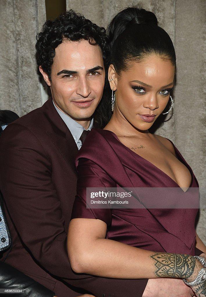 Designer Zac Posen and Rihanna attends Zac Posen attends Front Row Backstage MercedesBenz Fashion Week Fall 2015 at Vanderbilt Hall at Grand Central...
