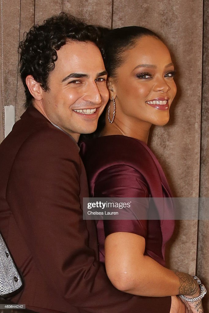 Designer Zac Posen and singer Rihanna pose backstage before the Zac Posen fashion show at Vanderbilt Hall at Grand Central Terminal on February 16...