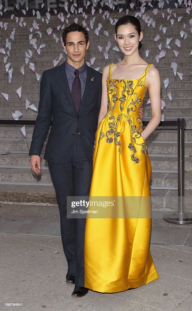Designer Zac Posen and Tao Okamoto attend the Vanity Fair Party during the 2013 Tribeca Film Festival at the State Supreme Courthouse on April 16, 2013 in New York City.