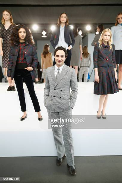 Designer Zac Posen poses with models during the Brooks Brothers FW 2017 Presentation with Zac Posen at The Glasshouses on February 15 2017 in New...