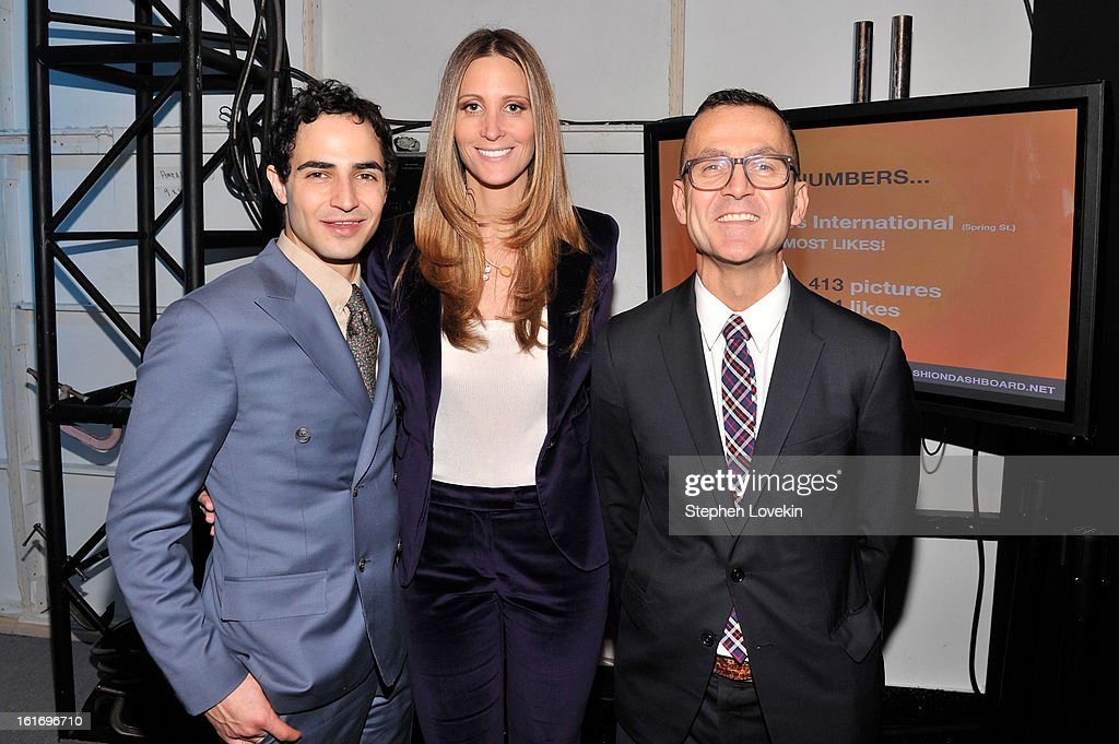Designer Zac Posen, President & CEO of SWW Creative and Co-Founder, Decoded Fashion Stephanie Winston Wolkoff and CEO of Council of Fashion Designers of America Steven Kolb attend The Decoded Fashion Forum & Hackathon Finale Fall 2013 fashion show during Mercedes-Benz Fashion Week at The Stage at Lincoln Center on February 14, 2013 in New York City.