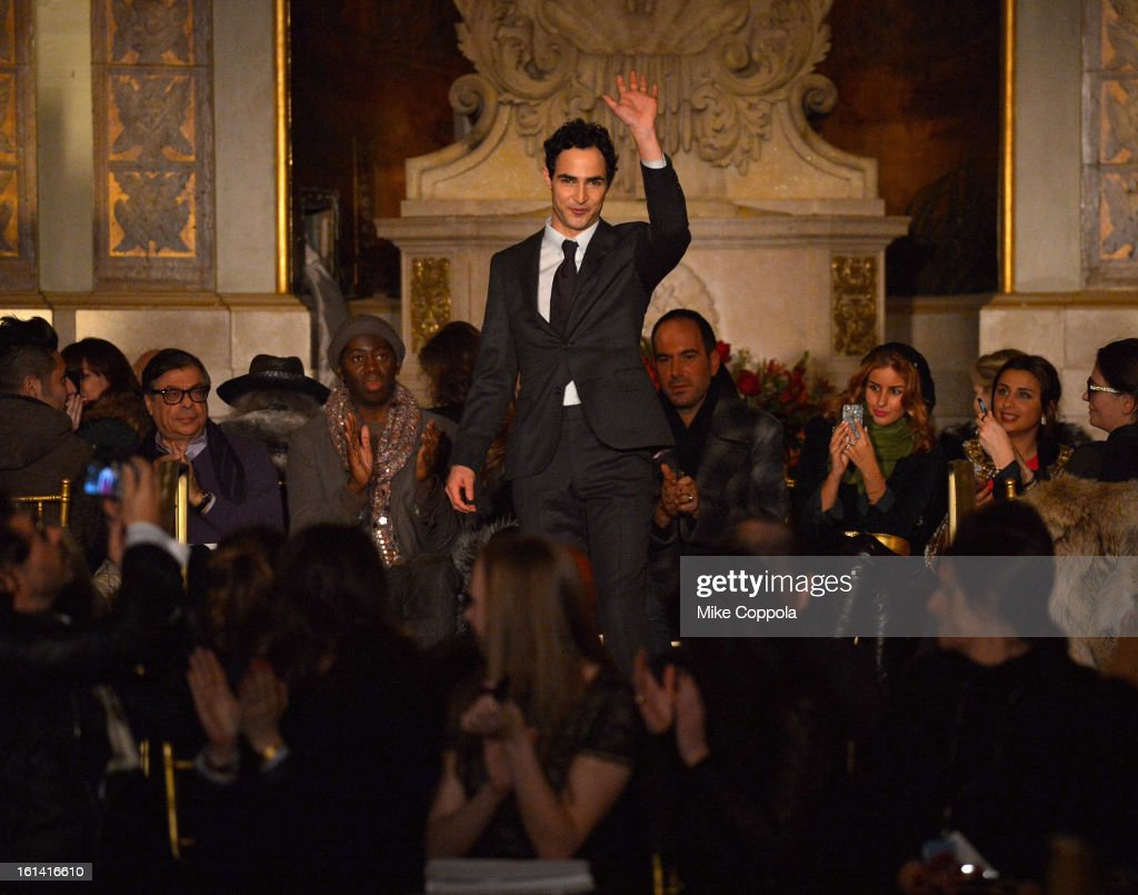Designer Zac Posen walks the runway at the Zac Posen Fall 2013 fashion show during Mercedes-Benz Fashion Week on February 10, 2013 in New York City.