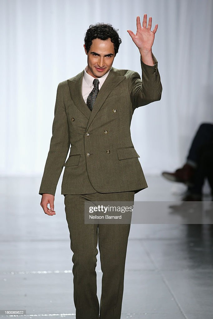Designer Zac Posen walks the runway at the Zac Posen fashion show during Mercedes-Benz Fashion Week Spring 2014 at Center 548 on September 8, 2013 in New York City.