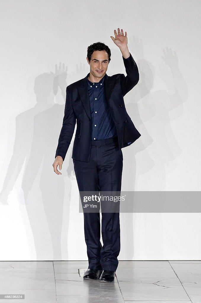 Designer Zac Posen walks the runway at the Zac Posen Spring 2016 fashion show during New York Fashion Week at Vanderbilt Hall at Grand Central...