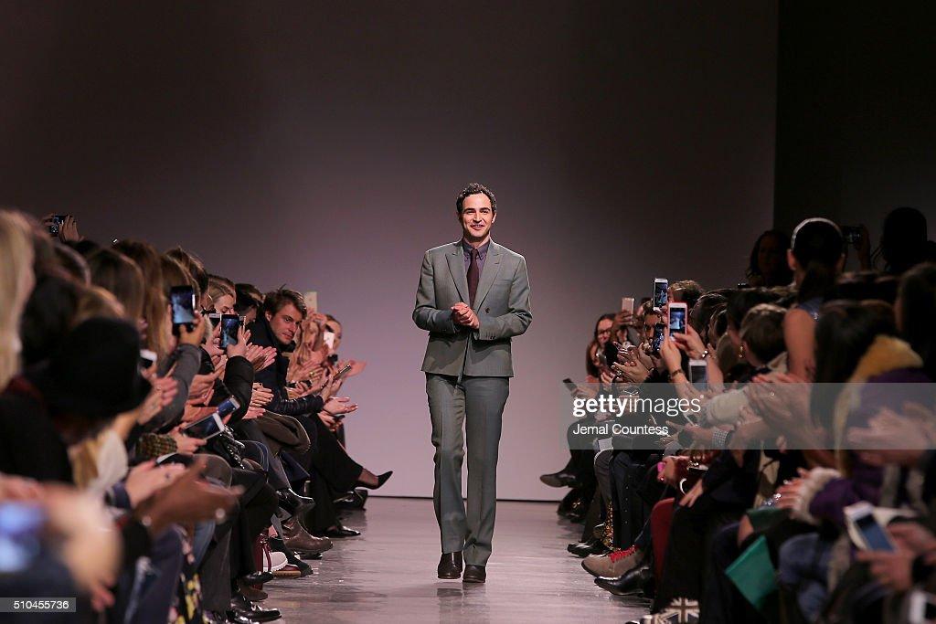 Designer Zac Posen walks the runway wearing Zac Posen Fall 2016 during New York Fashion Week at Spring Studios on February 15 2016 in New York City