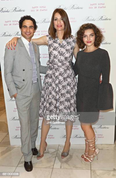 Designer Zac Posen writer Plum Sykes and actress Camren Bicondova attends Plum's 'Party Girls Die In Pearls' book launch celebration at Brooks...