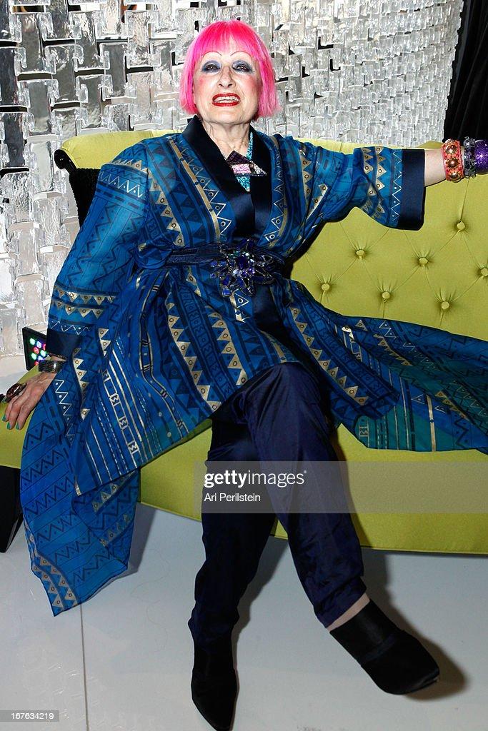 Designer Zhandra Rhodes attends Christopher Guy Britweek Event Honoring Jaguar Creative Director Ian Callum at Christopher Guy Beverly Hills on April 27, 2013 in Beverly Hills, California.
