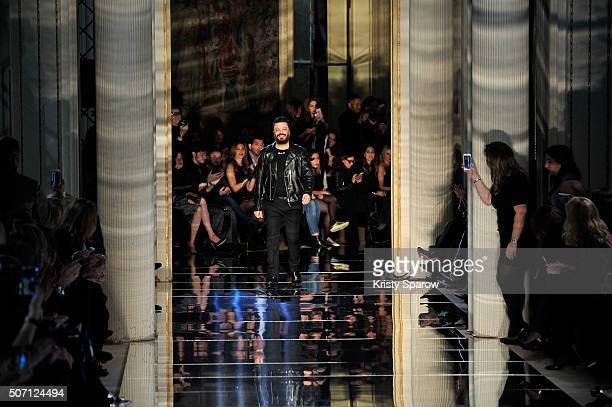 Designer Zuhair Murad acknowledges the audience during the Zuhair Murad Haute Couture Spring Summer 2016 show as part of Paris Fashion Week on...