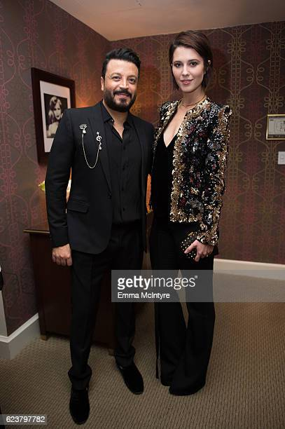 Designer Zuhair Murad and actress Mary Elizabeth Winstead attend the Zuhair Murad cocktail party at Sunset Tower Hotel on November 16 2016 in West...