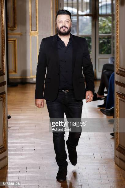 Designer Zuhair Murad walks the runway during the Zuhair Murad show as part of the Paris Fashion Week Womenswear Fall/Winter 2017/2018 on March 3...