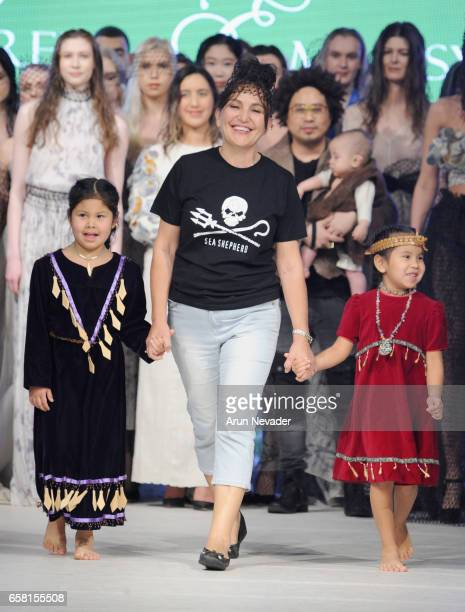 Designer Zuhal KuvanMills walks the runway at Vancouver Fashion Week Fall/Winter 2017 at Chinese Cultural Centre of Greater Vancouver on March 26...