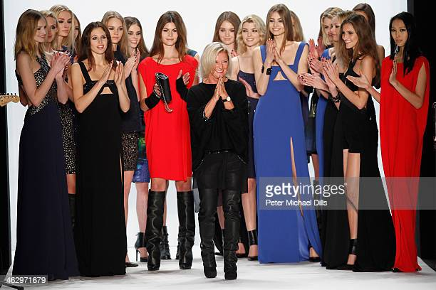Designerin Elisabeth Schwaiger acknowledges the audience with models behind her at the Laurel show during MercedesBenz Fashion Week Autumn/Winter...