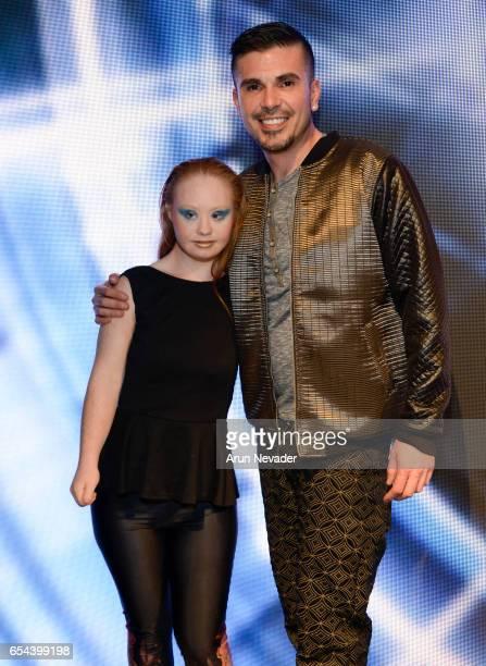 Designer/model Madeline Stuart and designer/producer Erik Rosete attend Art Hearts Fashion LAFW Fall/Winter 2017 Day 3 at The Beverly Hilton Hotel on...
