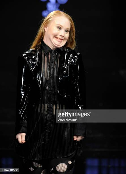 Designer/model Madeline Stuart walks the runway wearing Adolfo Sanchez at Art Hearts Fashion LAFW Fall/Winter 2017 Day 4 at The Beverly Hilton Hotel...