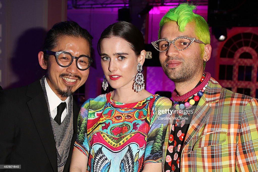 Designers Akira Isogawa Ana Plunkett and Gary Bigeni pose after the David Jones Spring/Summer 2014 Collection Launch at David Jones Elizabeth Street...
