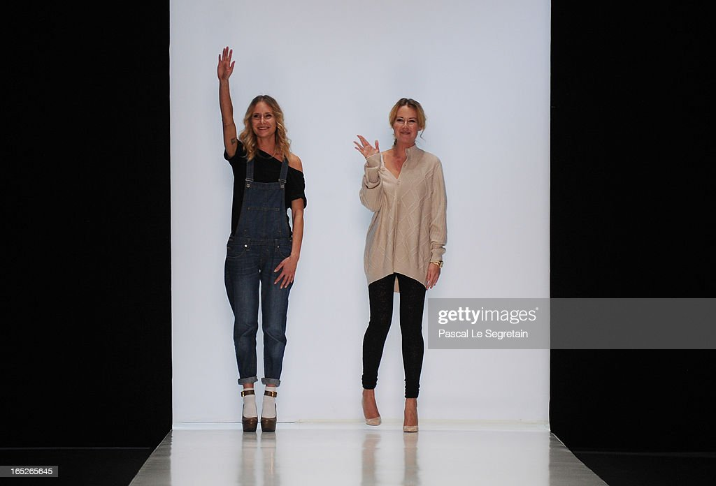 Designers Alice Ruban and Julia Ruban on th runway at the Ruban show during Mercedes-Benz Fashion Week Russia Fall/Winter 2013/2014 at Manege on April 2, 2013 in Moscow, Russia.