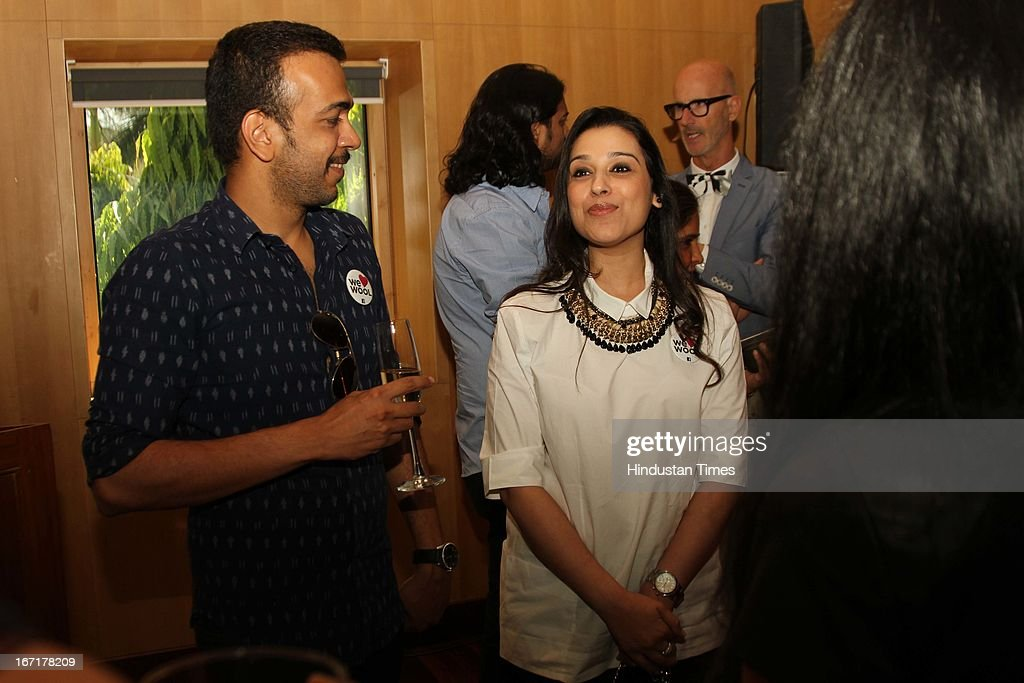 Designers Amit Aggarwal and Nidhi Ahuja during the announcement of Indian finalists for International Woolmark Prize at Australian High Commission on April 17, 2013 in New Delhi, India. 6 Indian designers were chosen to compete this year for the International Woolmark Prize.