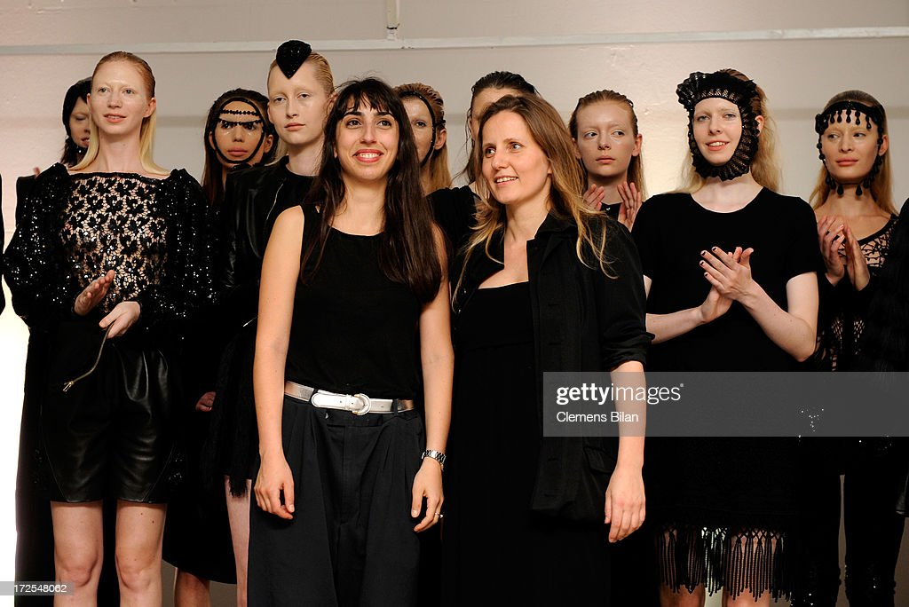 Designers Annelie Augustin and Odély Teboul pose with models at Augustin Teboul Show during Mercedes-Benz Fashion Week Spring/Summer 2014 at Brandenburg Gate on July 3, 2013 in Berlin, Germany.