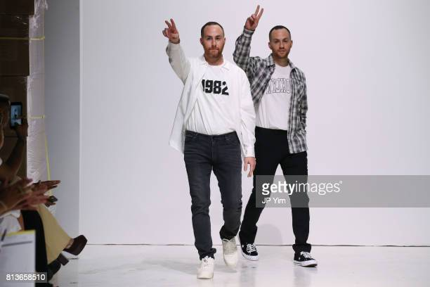 Designers Ariel Ovadia and Shimon Ovadia walk the runway at the Ovadia Sons Spring 2018 Collection at Skylight Clarkson Sq on July 12 2017 in New...