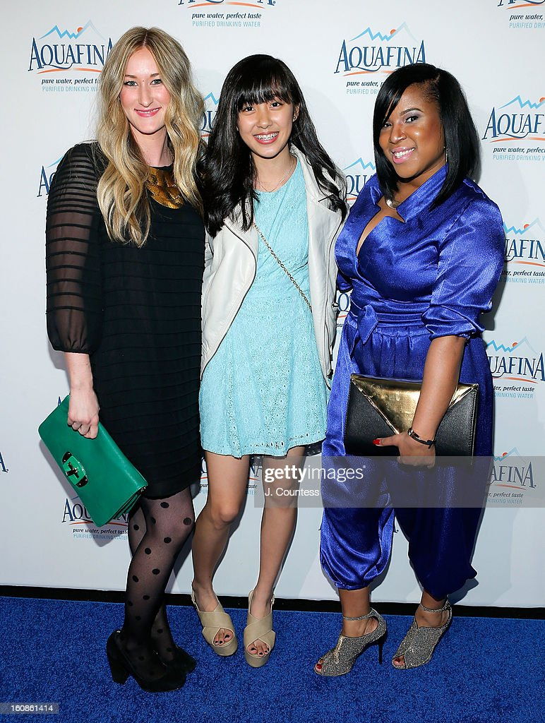 Designers Ashley Cooper, Alaina Thai and contest winner Carmen Green of Baltimore, MD at the Aquafina 'Pure Challenge' After Party at The Empire Hotel Rooftop on February 6, 2013 in New York City.