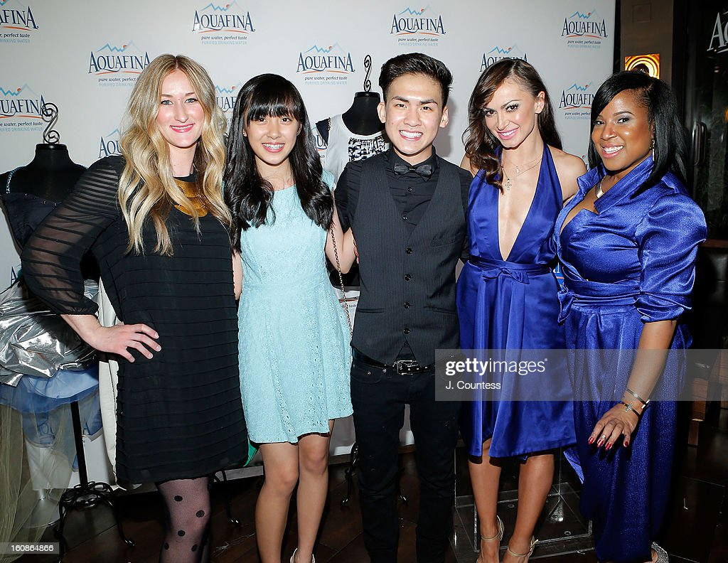 Designers Ashley Cooper, Alaina Thai, Tony Vo, dancer and host Karina Smirnoff and contest winner Carmen Green of Baltimore, MD pose at the Aquafina 'Pure Challenge' After Party at The Empire Hotel Rooftop on February 6, 2013 in New York City.