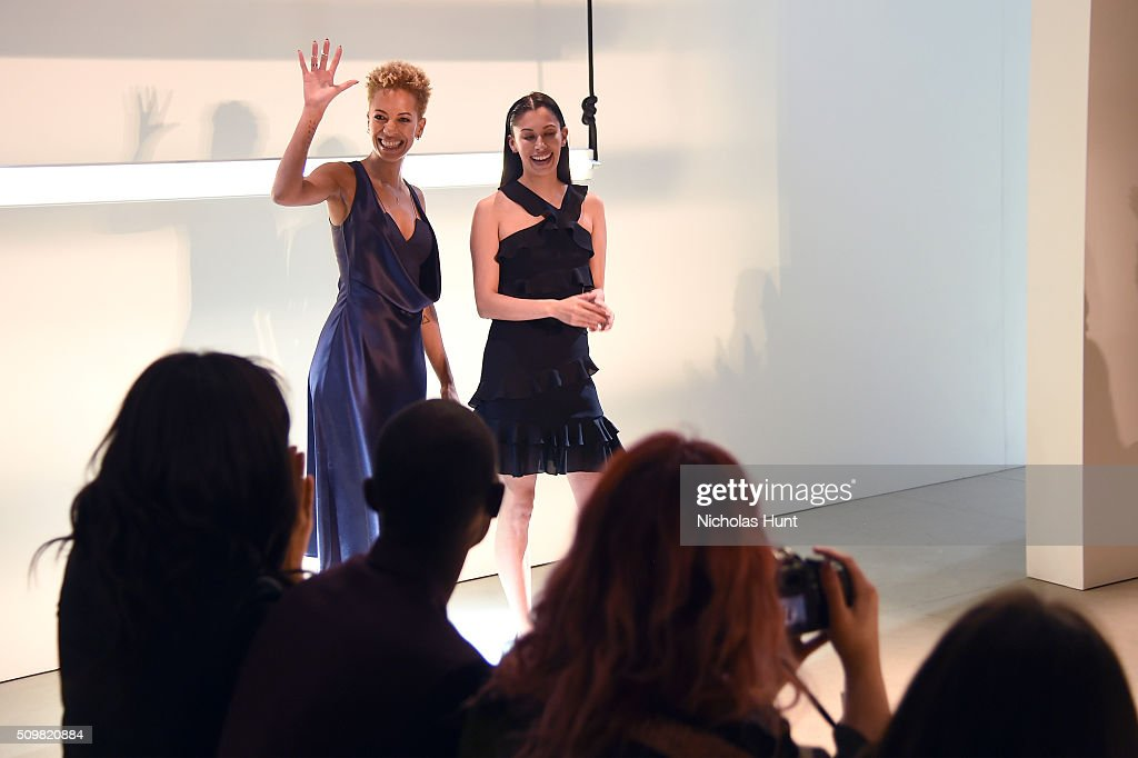 Designers <a gi-track='captionPersonalityLinkClicked' href=/galleries/search?phrase=Carly+Cushnie&family=editorial&specificpeople=5516258 ng-click='$event.stopPropagation()'>Carly Cushnie</a> and <a gi-track='captionPersonalityLinkClicked' href=/galleries/search?phrase=Michelle+Ochs&family=editorial&specificpeople=5516260 ng-click='$event.stopPropagation()'>Michelle Ochs</a> pose on the runway wearing Cushnie Et Ochs Fall 2016 during New York Fashion Week: The Shows at The Gallery, Skylight at Clarkson Sq on February 12, 2016 in New York City.