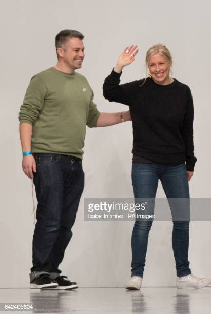 Designers Catherine Teatum and Rob Jones greet the public after presenting their Autumn/Winter 2017 London Fashion Week show at BFC Show Space London...