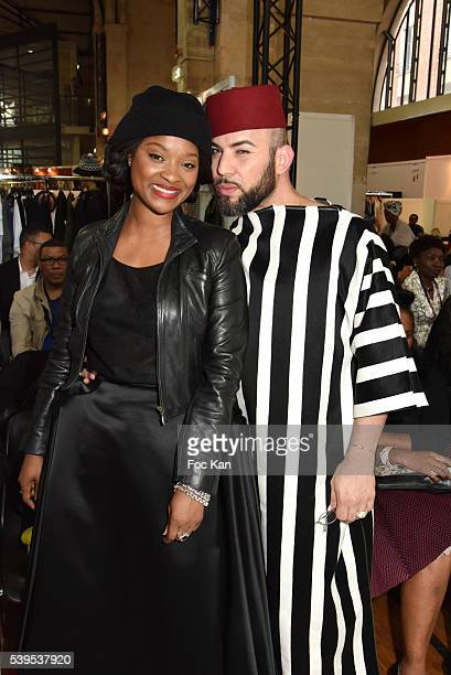 Designers Clarisse Hieraix and Elie Kuame attend the 'Labo International' 10th Edition African Ethnic and Sapeurs Fashion Show at Espace des Blancs...