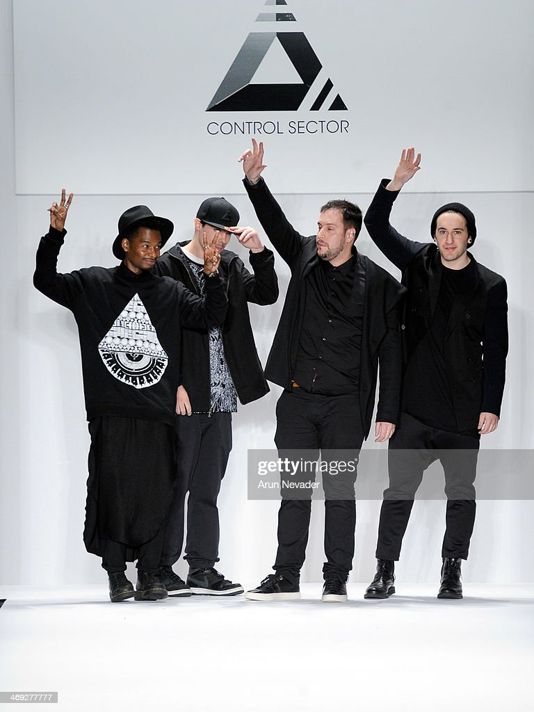 Designers Control Sector walks the runway at the FLT Moda + Art Hearts Fashion show presented by AIDS Healthcare Foundation during Mercedes-Benz Fashion Week Fall 2014 at The Theatre at Lincoln Center on February 13, 2014 in New York City.