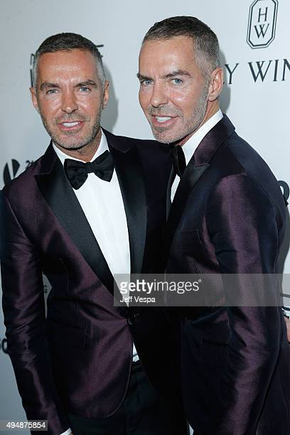 Designers Dan Caten and Dean Caten of Dsquared2 attend amfAR's Inspiration Gala Los Angeles at Milk Studios on October 29 2015 in Hollywood California