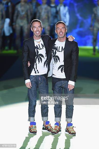 Designers Dan Caten and Dean Caten on the runway during the DSquared2 fashion show as part of Milan Men's Fashion Week Spring/Summer 2016 on June 23...