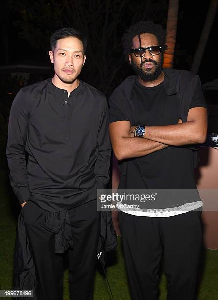 Designers DaoYi Chow and Maxwell Osborne of Public School attend the MAC Cosmetics Ellie Goulding Art Basel Performance At The Miami Beach Editionl...