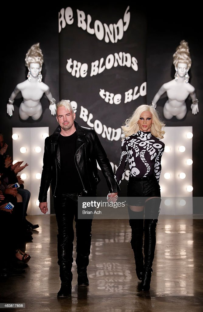 Designers David Blond and Phillipe Blond appear on the runway at The Blonds show during Mercedes-Benz Fashion Week Fall 2015 at Milk Studios on February 18, 2015 in New York City.