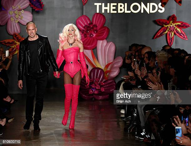 Designers David Blond and Phillipe Blond walk the runway duringThe Blonds runway show during Fall 2016 MADE Fashion Week at Milk Studios on February...