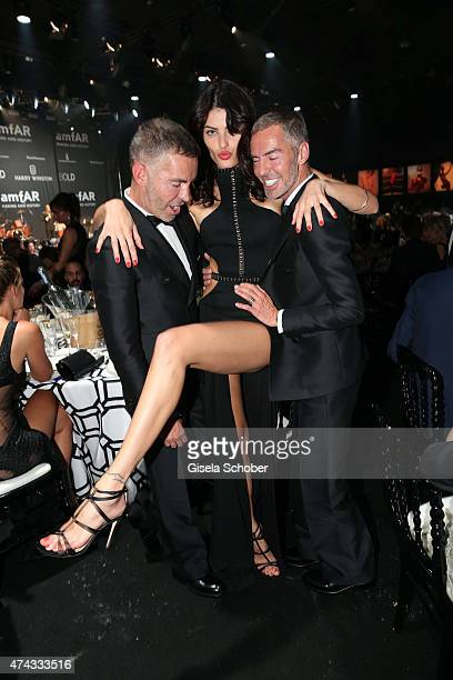 Designers Dean and Dan Caten and Model Isabeli Fontana attend amfAR's 22nd Cinema Against AIDS Gala Presented By Bold Films And Harry Winston at...