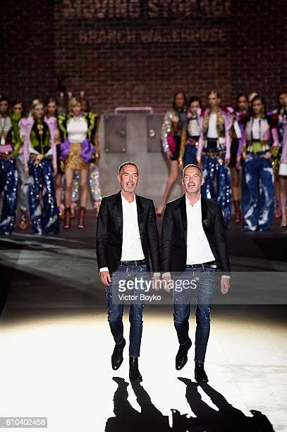 Designers Dean and Dan Caten walk the runway at the Dsquared2 show during Milan Fashion Week Spring/Summer 2017 on September 25 2016 in Milan Italy