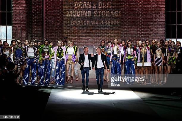Designers Dean Caten Dan Caten walking the runway at the Dsquared2 designed by Dean Caten Dan Caten show Milan Fashion Week Spring/Summer 2017 on...