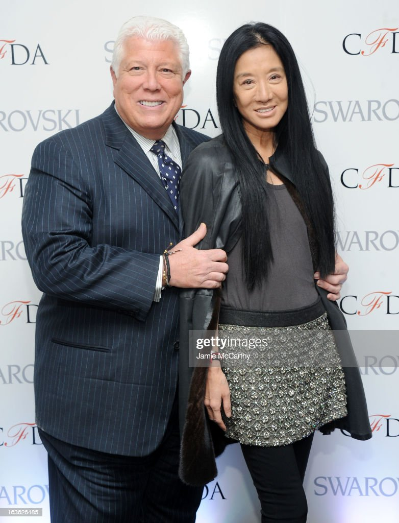 Designers Dennis Basso and Vera Wang attend the CFDA 2013 Awards Nomination event on March 13, 2013 in New York City.