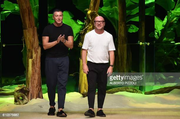 Designers Domenico Dolce and Stefano Gabbana greet the audience at the end of the show for fashion house Dolce Gabbana during the 2017 Women's Spring...