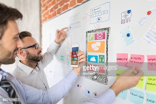 Designers drawing website ux app development. : Stock Photo