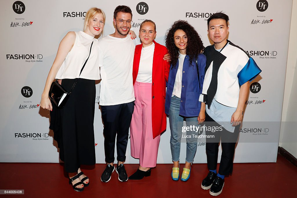 Designers Elisa Kley, David Kaelble, winner Edda Gimnes, Ancuta Sarca and Marc Morris Mok attend the 'Designer for Tomorrow' by Peek & Cloppenburg and Fashion ID after show party during the Mercedes-Benz Fashion Week Berlin Spring/Summer 2017 on June 30, 2016 in Berlin, Germany.