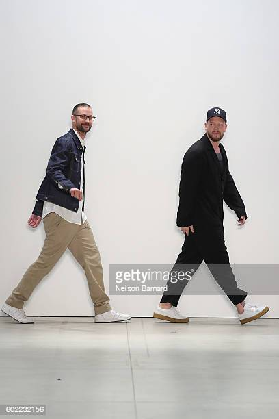 Designers Florian Feder and Niklaus Hodel walk the runway at Band Of Outsiders fashion show during New York Fashion Week The Shows September 2016 at...