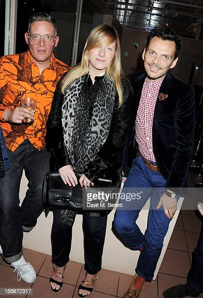 Designers Giles Deacon Sarah Burton and Matthew Williamson attend the Stylecom dinner celebrating London fashion hosted by editorinchief Dirk Standen...