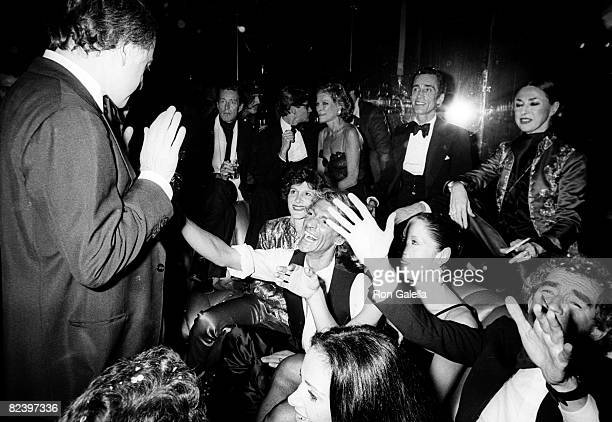 Designers Giorgio Sant Angelo Halston and Lester Persky attending 'Party for Opium Perfume' on September 20 1978 at Studio 54 in New York City New...