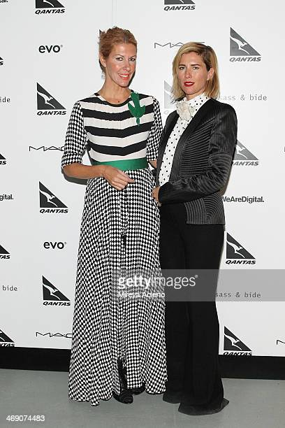 Designers Heidi Middleton and SarahJane Clarke pose backstage at the Sass Bide fashion show during MercedesBenz Fashion Week Fall 2014 at The...