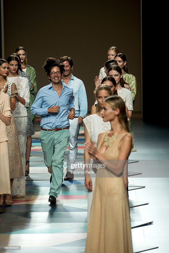 Designers Inaki Munoz (L) and aitor Munoz walk the catwalk at the Ailanto show during Mercedes Benz Fashion Week Madrid Spring/Summer 2014 at Ifema on September 13, 2013 in Madrid, Spain.