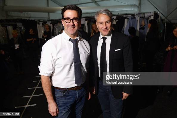 Designers Isaac Franco and Ken Kaufman backstage at the Kaufmanfranco fashion show during MercedesBenz Fashion Week Fall 2014 at The Theatre at...