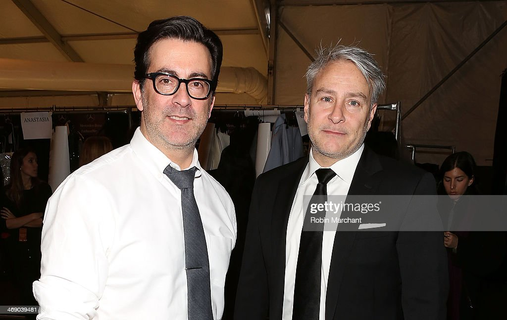 Designers Isaac Franco and Ken Kaufman backstage at the Kaufmanfranco Show during MercedesBenz Fashion Week Fall 2014 at The Theatre at Lincoln...