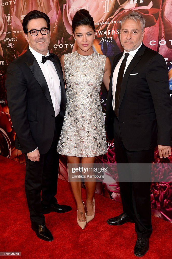 Designers Isaac Franco and Ken Kaufman of Kaufmanfranco pose with Jessica Szohr at the 2013 Fragrance Foundation Awards at Alice Tully Hall at Lincoln Center on June 12, 2013 in New York City.